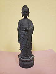 Carved Wood Standing Buddha